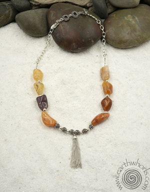 Raw Stone Agate & Sterling Silver Designer Necklace
