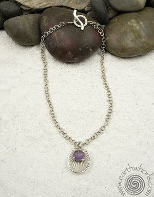 Moonstone Pendant & Sterling Silver Necklace - EarthWhorls, LLC