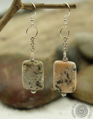 Rhodocrosite & Sterling Silver Square Shaped Natural Stone Earrings - EarthWhorls, LLC