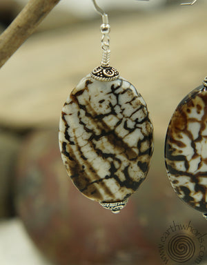 Speckled Agate & Sterling Silver Earrings