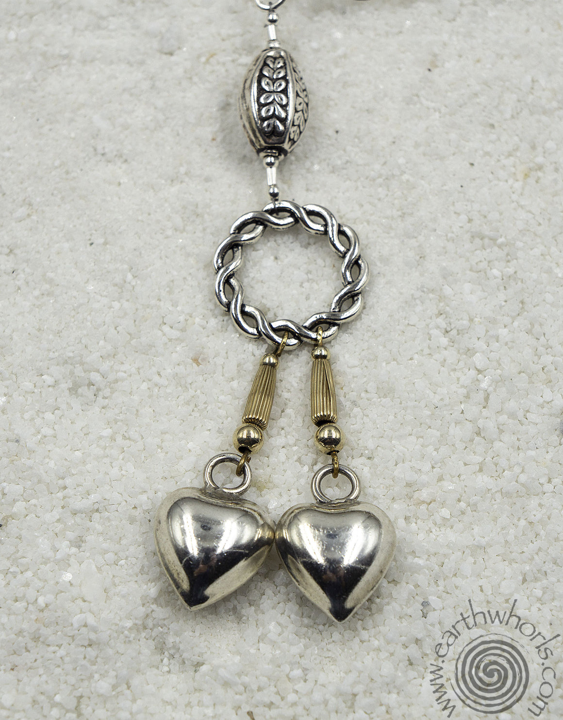 Sterling Silver Double Heart Shaped Pendant Necklace