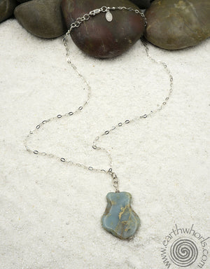 Chrysoprase & Sterling Silver Pendant Necklace - EarthWhorls, LLC