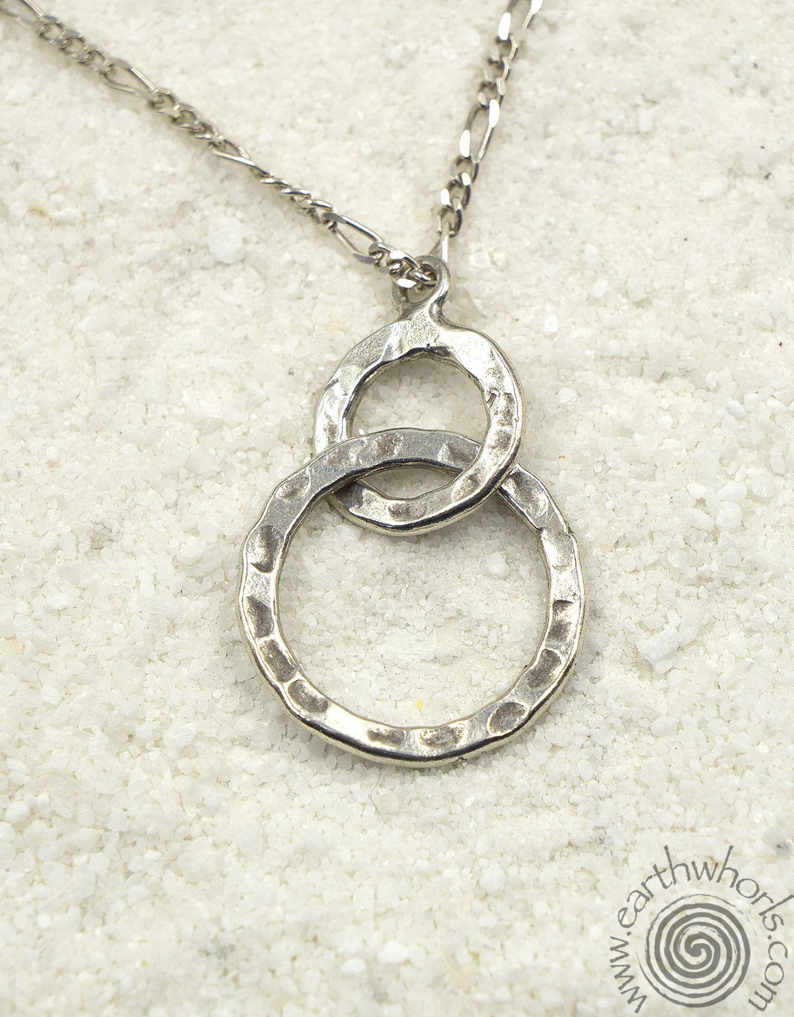 Double Circle Sterling Silver Pendant Necklace - EarthWhorls, LLC