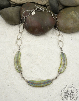 Handmade Glass & Sterling Silver Choker necklace - EarthWhorls, LLC