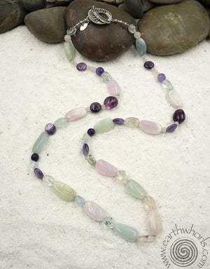 Fluorite & Sterling Silver Long Necklace - EarthWhorls, LLC