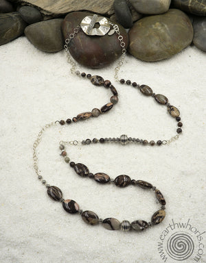 Jasper & Sterling Silver Long Designer Natural Stone Necklace