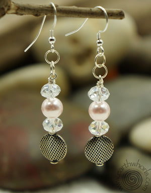 Swarovsky Pearl, Crystal & Sterling Silver Earrings - EarthWhorls, LLC