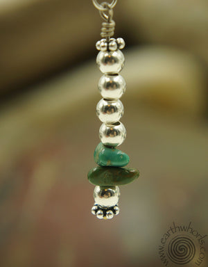 Natural Stone Turquoise & Sterling Silver Drop Earrings