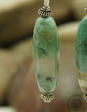 Green Jade & Sterling Silver Drop Earrings - EarthWhorls, LLC