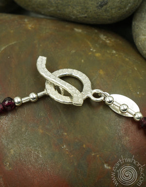 Garnet, Citrine & Sterling Silver Necklace - EarthWhorls, LLC