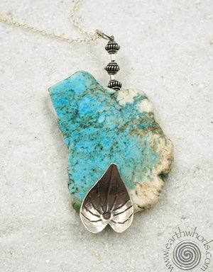 Turquoise & Handmade Silver Leaf, Sterling Silver Pendant Necklace - EarthWhorls, LLC