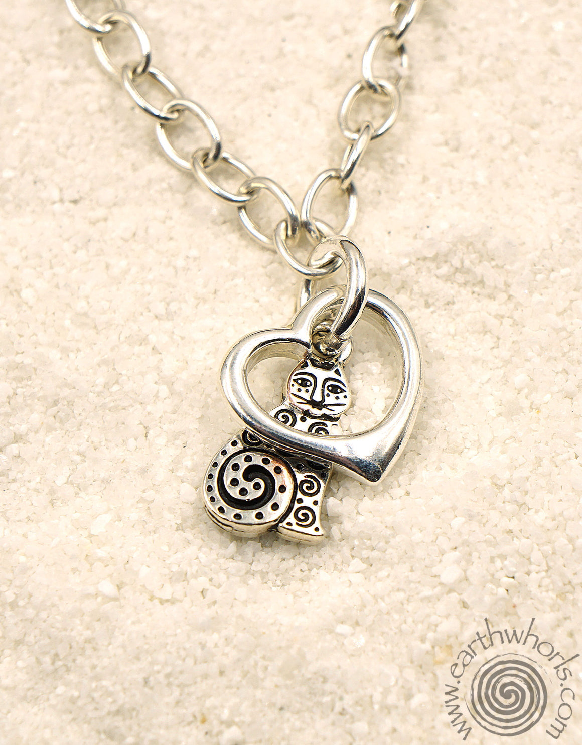 """Cat Lover"" Sterling Silver Charm Necklace - EarthWhorls, LLC"