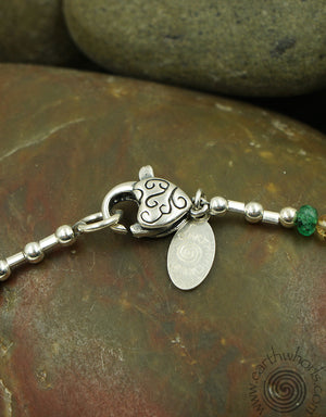 Multi Stone & Sterling Silver Adjustable Bracelet, Necklace or Anklet - EarthWhorls, LLC