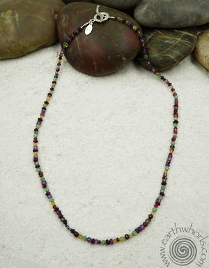 "Multi-Stone, Sterling Silver ""Wrap-It"" Design Necklace, Bracelet, Anklet - EarthWhorls, LLC"