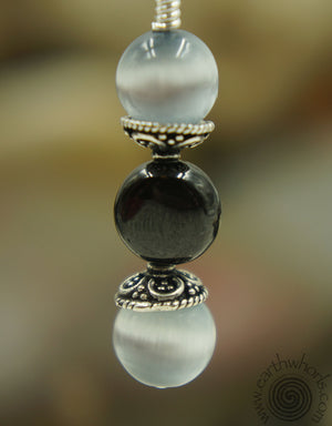 Cat's Eye, Garnet & Sterling Silver Drop Earrings - EarthWhorls, LLC