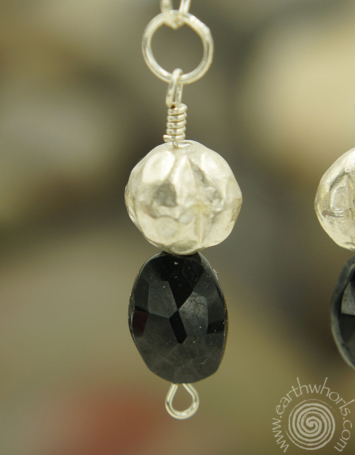Garnet & Sterling Silver Drop Earrings - EarthWhorls, LLC