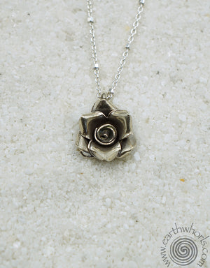 Rose Shaped Sterling Silver Pendant Necklace - EarthWhorls, LLC