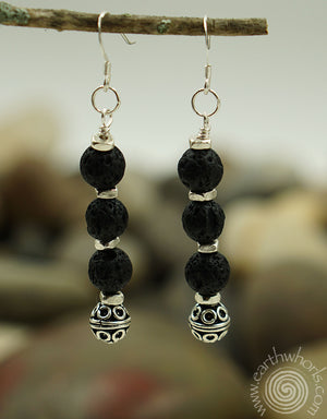 Lava Bead - Diffuser Stone & Sterling Silver Drop Earrings - EarthWhorls, LLC