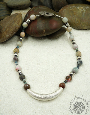 Amazonite, Tourmaline & Sterling Silver Necklace - EarthWhorls, LLC
