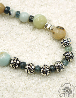 Amazonite, Tourmaline & Sterling Silver Long Necklace - EarthWhorls, LLC