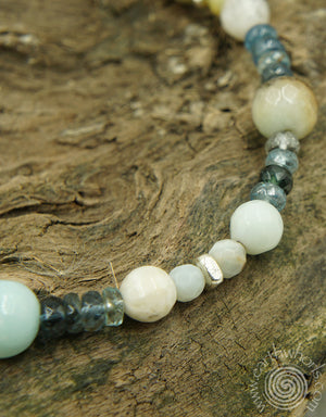 Amazonite, Tourmaline & Sterling Silver Adjustable Bracelet - EarthWhorls, LLC