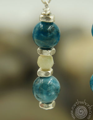 Amazonite, Apatite & Sterling Silver Boho Style Earrings - EarthWhorls, LLC
