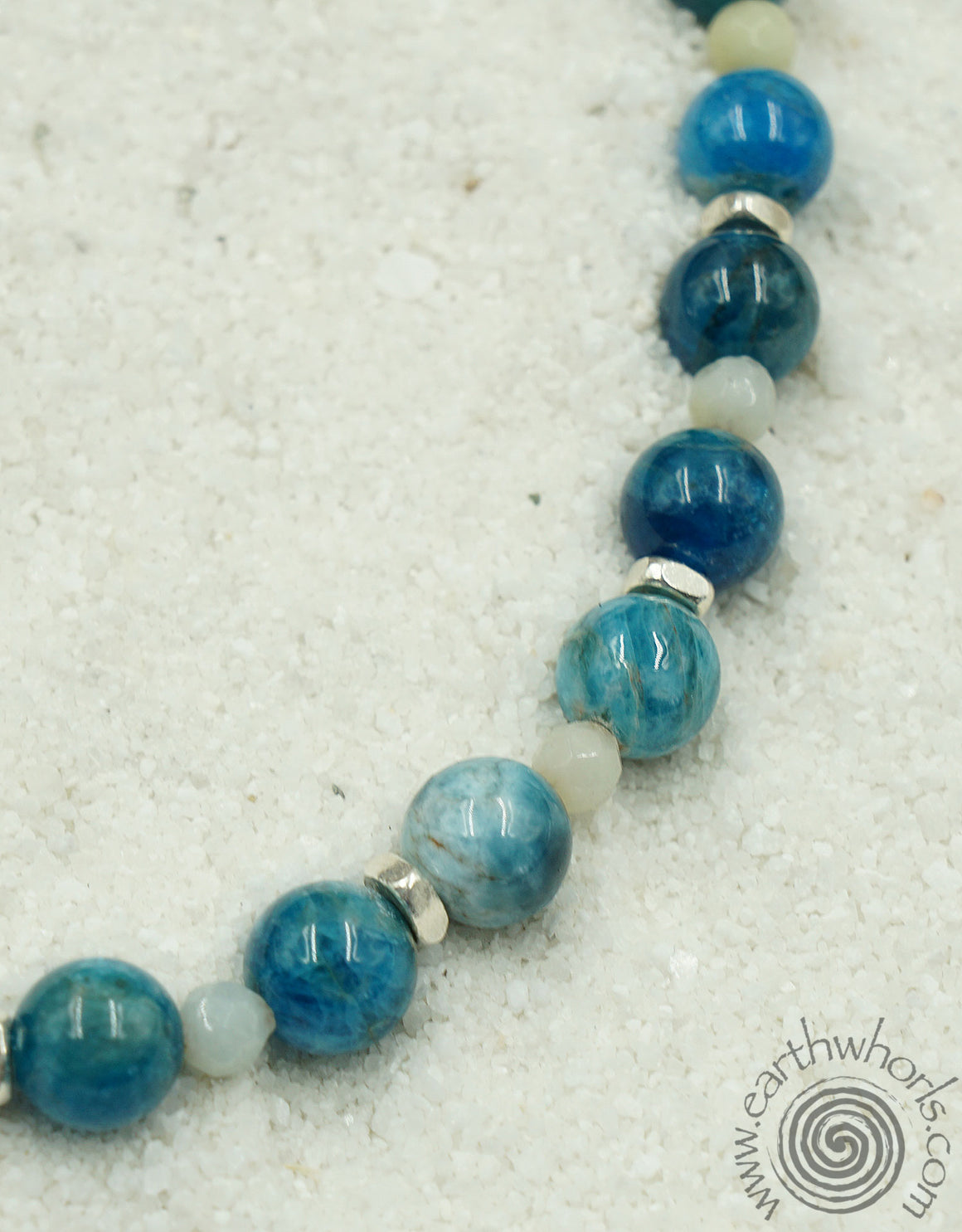 Amazonite, Apatite & Sterling Silver Short Necklace - EarthWhorls, LLC