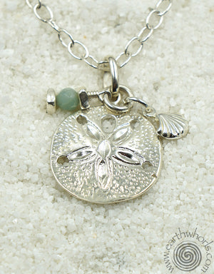 Sterling Silver Galapagos Islands Pendant, Aquamarine & Sterling Silver Charm Necklace - EarthWhorls, LLC