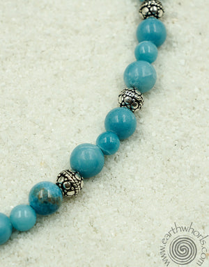 Larimar & Sterling Silver Designer Necklace - EarthWhorls, LLC
