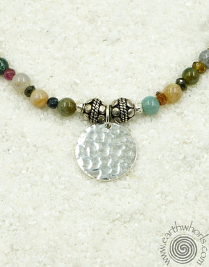 Agate, Tourmaline & Sterling Silver Charm Necklace - EarthWhorls, LLC