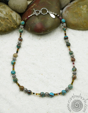 Chrysoprase & Sterling Silver Adjustable Necklace - EarthWhorls, LLC