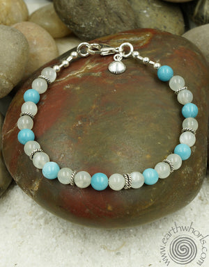 Chrysoprase, Moonstone & Sterling Silver Bracelet - EarthWhorls, LLC