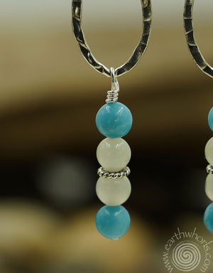 Chrysoprase, Moonstone & Sterling Silvere Dangle Earrings - EarthWhorls, LLC