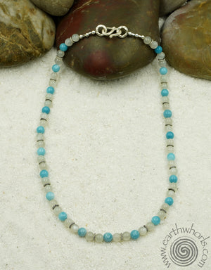 Moonstone, Chrysoprase & Sterling Silver Short Necklace - EarthWhorls, LLC