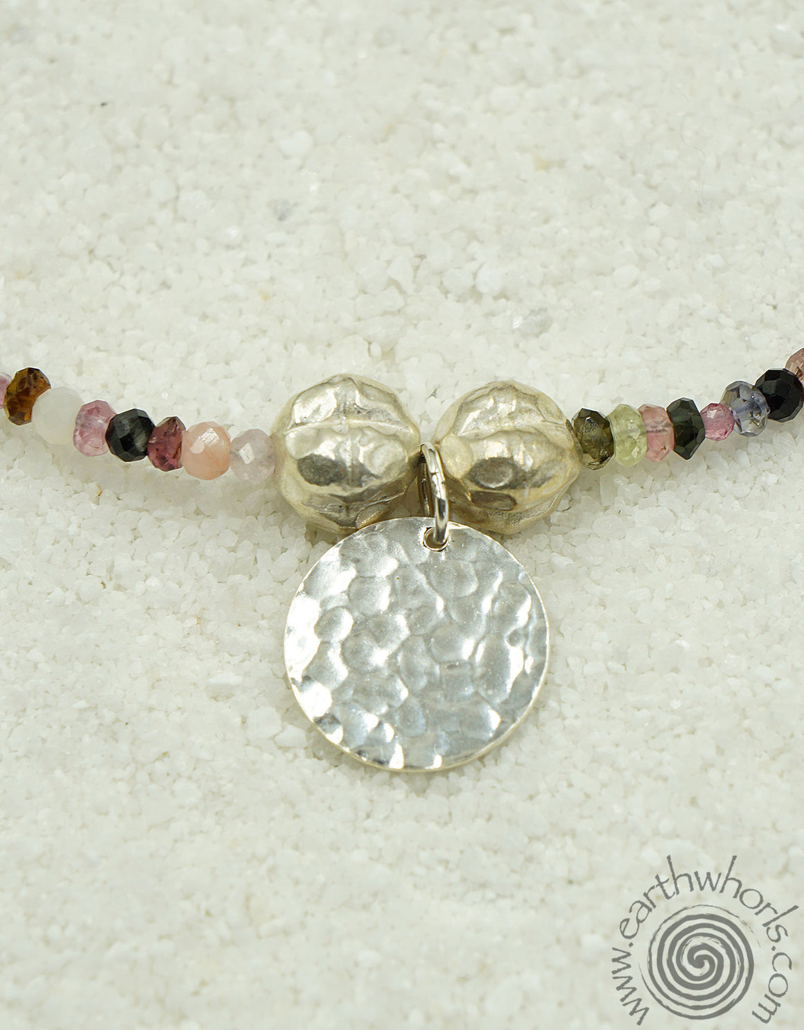 Tourmaline & Sterling Silver Necklace - EarthWhorls, LLC