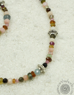 Tourmaline & Sterling Silver Long Necklace - EarthWhorls, LLC