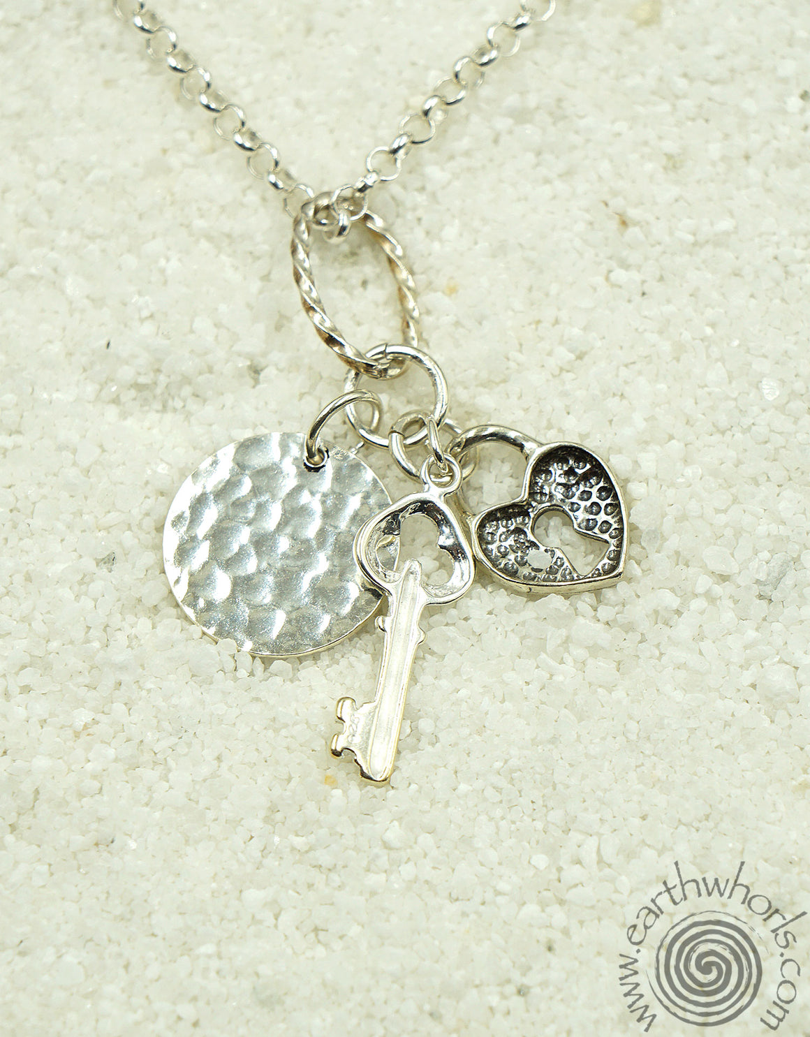 "Sterling Silver ""Love"" Charm Necklace - EarthWhorls, LLC"