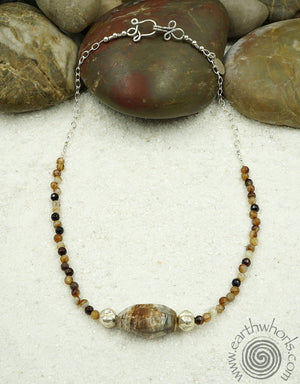 Agate & Sterling Silver Necklace - EarthWhorls, LLC