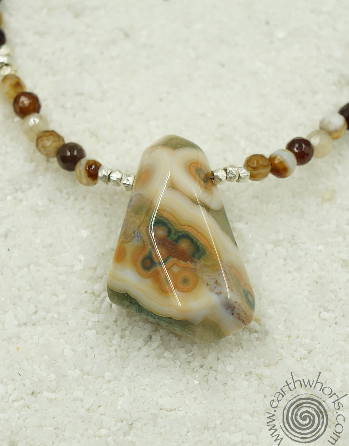 Raw Stone Agate & Sterling Silver Necklace - EarthWhorls, LLC