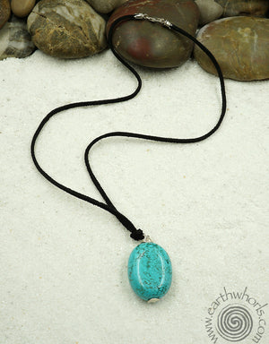 All Natural Vegan Leather & Turquoise Pendant Necklace - EarthWhorls, LLC