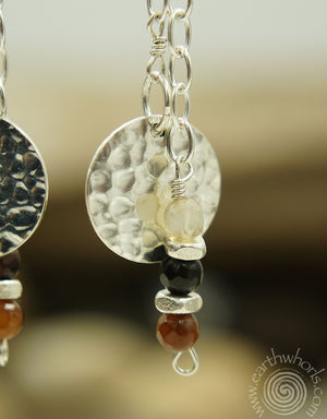 Sterling Silver Disc with Agate Natural Stone Earrings - EarthWhorls, LLC