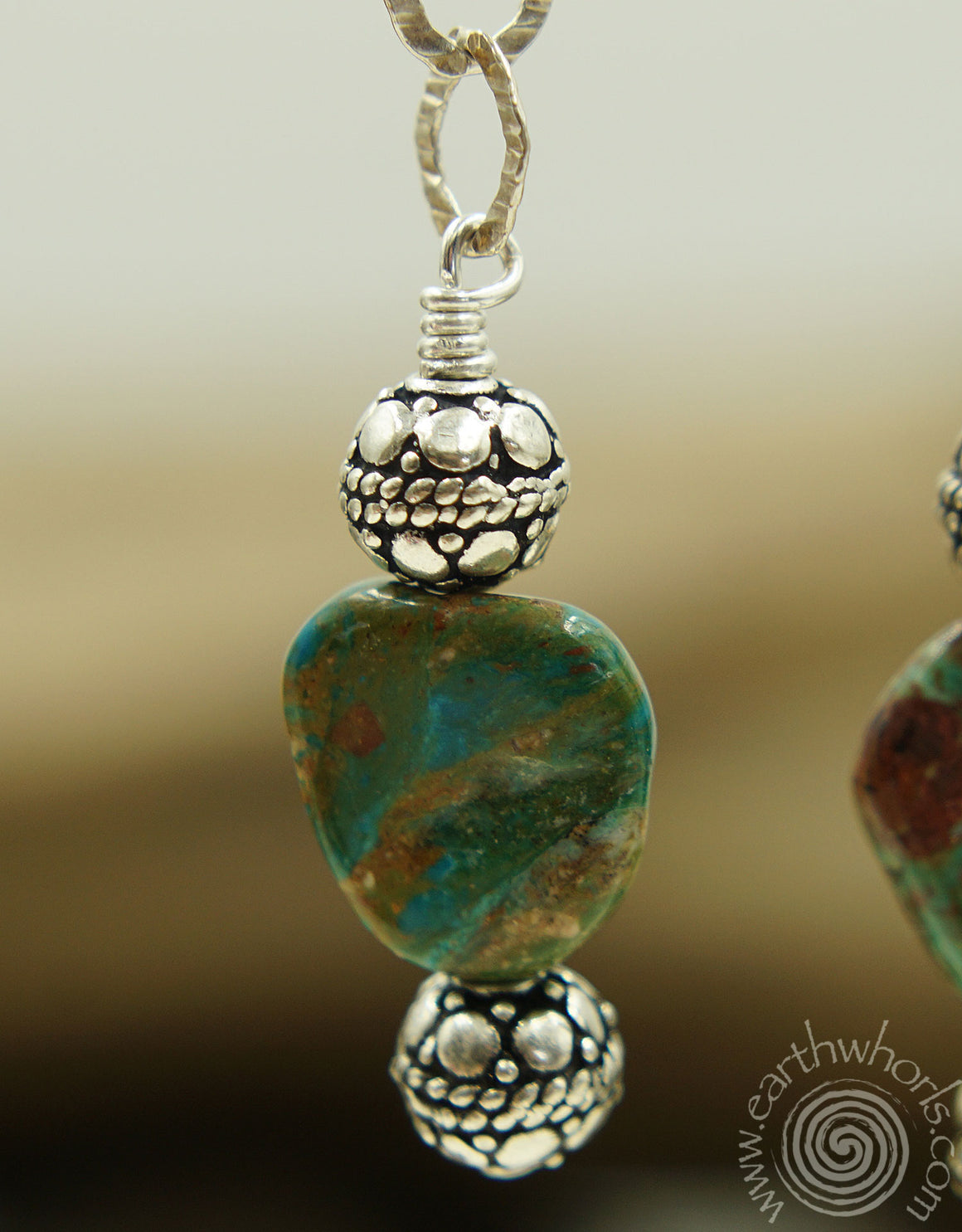 Chrysoprase & Sterling Silver Drop Earrings - EarthWhorls, LLC