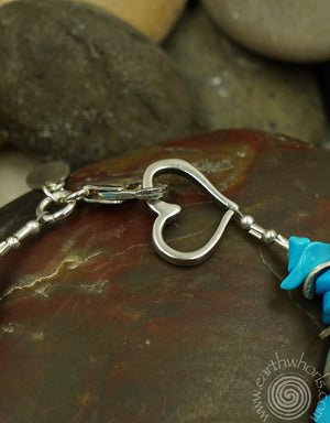 Chrysoprase Natural Stone & Sterling Silver Heart Bracelet - EarthWhorls, LLC