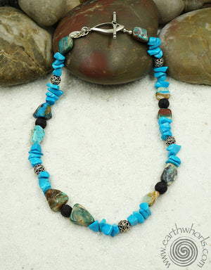 Chrysoprase & Sterling Silver Raw Stone Necklace - EarthWhorls, LLC