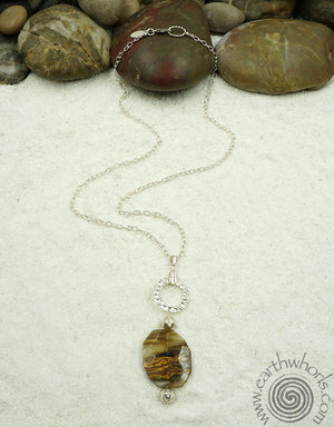 Strawberry Quartz & Sterling Silver Pendant Necklace - EarthWhorls, LLC