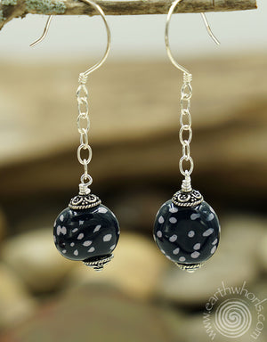 African Clay Bead & Sterling Silver Earrings - EarthWhorls, LLC