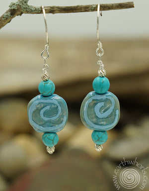 African Clay Bead, Chrysoprase Stone & Sterling Silver Earrings - EarthWhorls, LLC