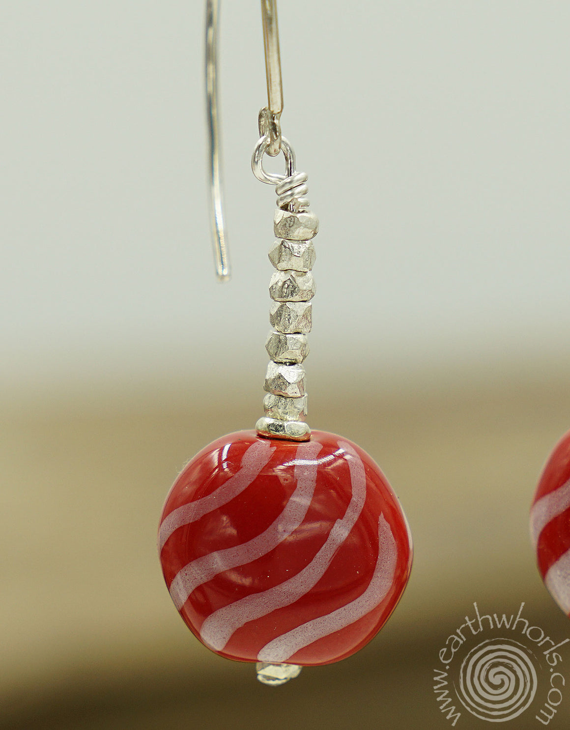 "African Clay Bead & Sterling Silver ""Candy Cane"" Earrings"