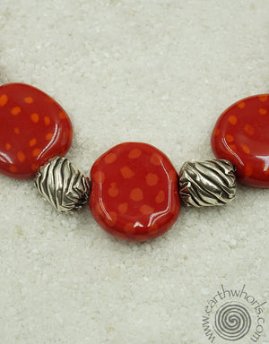 African Clay Bead & Sterling Silver Fashion Necklace
