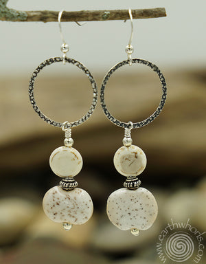 African Clay Beads & Sterling Silver Loops Dangle Earrings